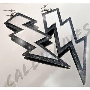 Large Acrylic Mirrored Lightening Bolt Earrings